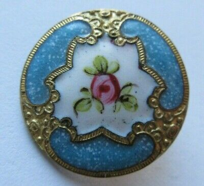 Gorgeous Antique~ Vtg French Champleve ENAMEL BUTTON Turquoise w/ Pink Rose (R)