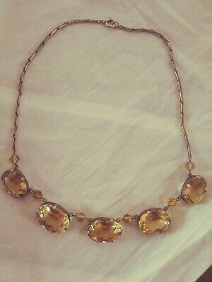 Antique 1930s Citrine and Sterling Silver Necklace