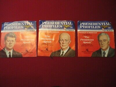 """Vintage """"Presidential Profiles"""" 3 Different 45 Rpm Records Nr"""