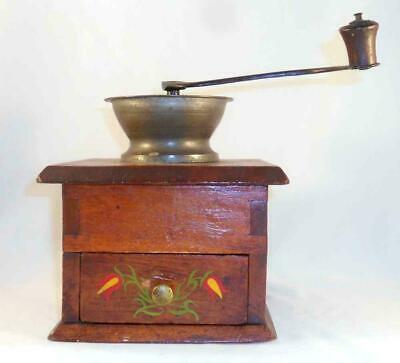 Old Wood Iron Hand Decorated w/ Colorful Tulips Manual Coffee Spice Mill Grinder