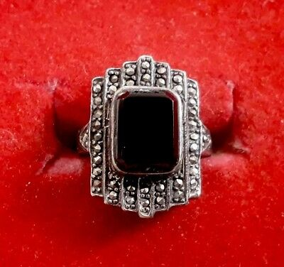 Antique Real Silver Ring with Black Stone (j3)