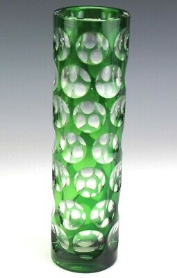 """Vintage Murano Italian Art Glass Green Cut to Clear 1000 Eyes 10 1/4"""" Vase SMS"""