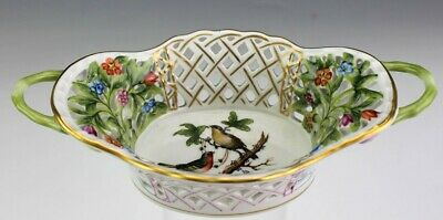 Vintage Herend Hungary Rothschild Bird Pierced Reticulated Porcelain Dish NR SMS