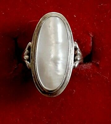 Pretty Antique 900er Silver Ring with White Stone (J)