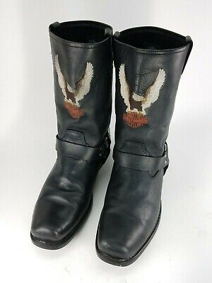 Harley Davidson Classic Leather Harness Boots Logo Embroidered 91002 Size 12 M