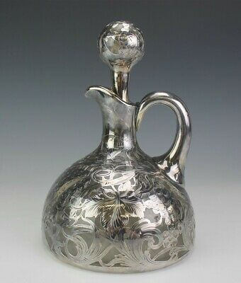 Antique La Pierre Sterling Silver Overlay Grapevine Liquor Decanter Stopper NBV