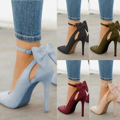 Women High Heels Pointed Toe Sandals Ankle Strap Bow-knot Stiletto Shoes