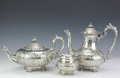 Vintage English Ornate Hand Chased Silverplate Floral Teapot Coffee Pot Set PFP