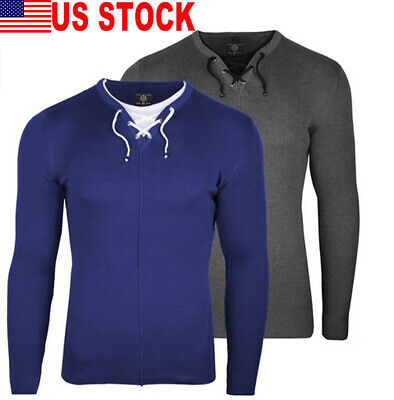 US Men's Slim Fit Pullover Sweater Basic Knitted Lightweight Crew Neck Sweater