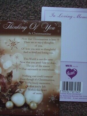 "In Loving Memory ""Thinking Of You At Christmastime"" Xmas Graveside Memorial Card"