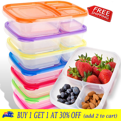 6X Plastic Lunch Box Food Container Bento Lunch Boxes 3-Compartment with Lids CJ