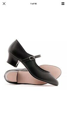 Ladies Black Leather Stage Buckle Dance Shoes