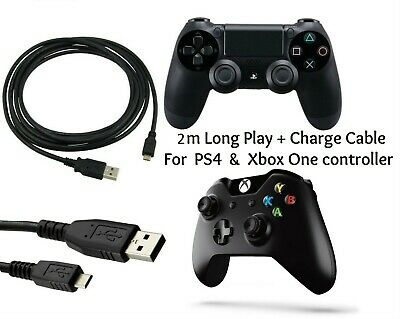 2/3/5m Play & Charging Charger Lead Cable FITS PS4 + Xbox One Controller GamePad