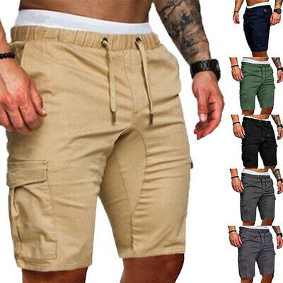 UK Mens Cargo Work Shorts Elasticated Cotton Summer Casual Combat Pants Trousers