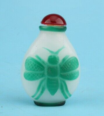 Precious China Coloured Glaze Snuff Bottle Statue Hand-Polished Butterfly Old