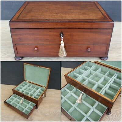 Terrific Georgian Mahogany Inlaid Antique Jewellery Box - Fab Interior