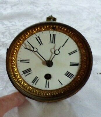 Antique Enamel Mantel Clock Face & Ornate  Bezel With Part Movement
