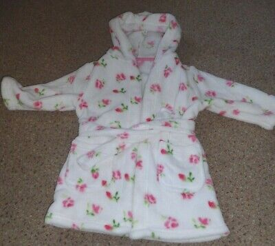 Excellent * Mothercare * Soft Hooded Floral White Dressing Gown Xs To 2 Years
