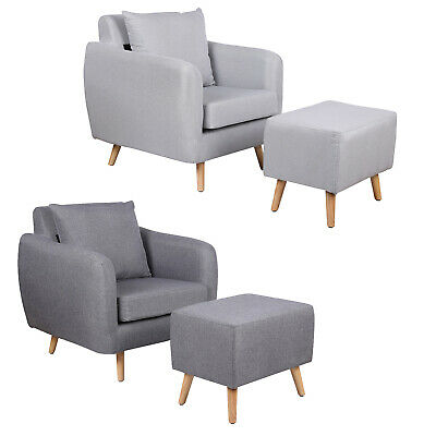 Modern Stylish Grey Fabric Armchair & Footstool Home Bedroom Lounge Chair
