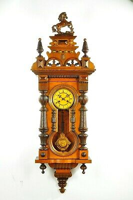 Gorgeous Antique German Junghans Keyhole Spring Driven Wall Clock approx.1900