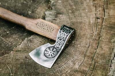 Custom Handmade Engraved Steel Axe