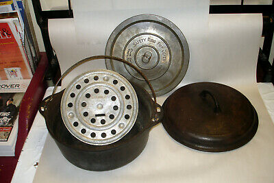 Vintage Griswold Cast Iron Tite-Top No 8 Dutch Oven Complete 1278 & 1288 +Trivet