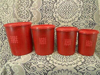 Vintage Tupperware Red Quilt Tulip Canisters Set of 4