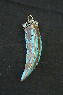Tibetan Hand made Hand carved turquoise chip stone tooth teeth Antique pendant