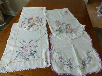 Lot of 4---Vintage Dresser Scarves Runners Embroidered Lace Not Cutters EUC