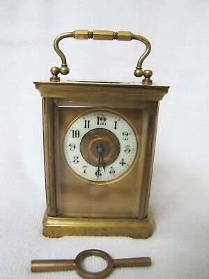 Antique 19th Century Small French Carriage Clock with Porcelain Dial.