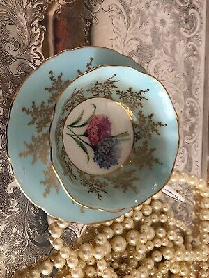 Vintage Paragon Tea Cup & Saucer. Baby Blue with Gold Scroll. No chips or cracks