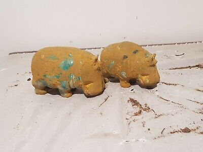 Rare Antique Ancient Egyptian 2 Statues God Taweret (Hippo) Fertility1830-1750BC