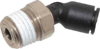 """Legris 1/4"""" OD, 1/4 NPT, Nylon/Nickel Plated Brass Push-to-Connect Male Elbow..."""