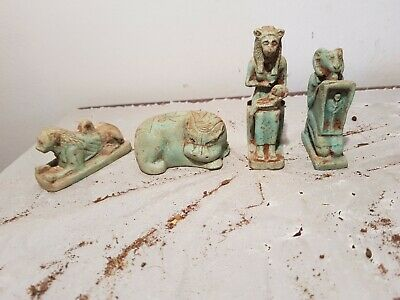 Rare Antique Ancient Egyptian 4 Statue God Sekhmet Taweret Khnum 1810-1720BC