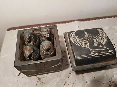 Rare Antique Ancient Egyptian 4 Canopic Jar Box Internal Organs Heart1810-1720BC