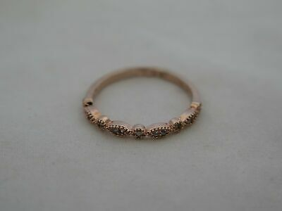 Estate Sterling Silver Rose Gold Vermeil Size 7.5 Small CZ Ring