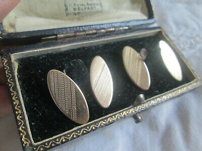 Antique art deco 9ct gold on sterling silver engraved English made cufflinks