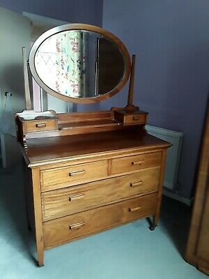 Edwardian solid inlaid wood dressing table chest of drawers with large mirror