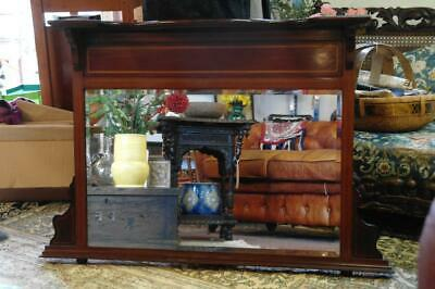Antique Late Victorian Overmantle Mirror Inlaid Mahogany & Beveled Glass c.1900