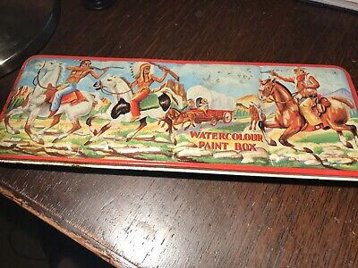 Vintage Red Indian Watercolour Paint Box