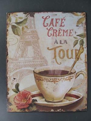 Metal Sign,Advertisement Sign,Cafe Cream a la Tour,Gastro Wall Sign 9 13/16x7
