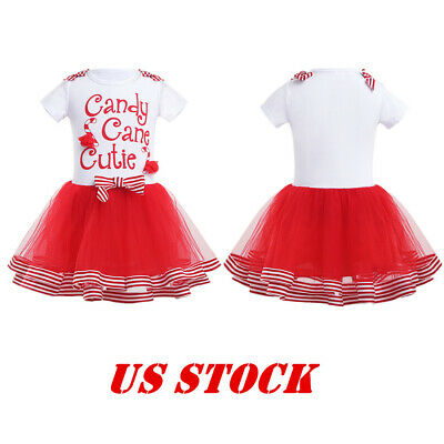 US 5Y Girl Kid Tutu Dress Party Christmas Candy Cane Cutie Holiday Fancy Costume