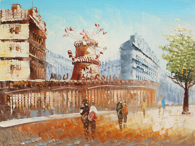 Hand-painted Original Moulin rouge Paris Oil Painting on Canvas Wall Art Decor