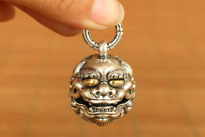 rare old 100% 925 silver hand carved Bodhidharma kylin statue pendant