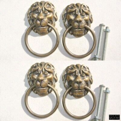 4 LION pulls handles Small heavy  SOLID age BRASS old style bolt house antiques