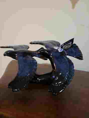 Stunning Blue Mountain Pottery Rare Romar pair of Flying Geese glazed in Blue!