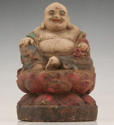 Buddhist Chinese Wood Statue Maitreya Spiritual Hand-Carved Old Collection Gift