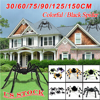US Halloween Hanging Decor Giant Realistic Hairy Big SPIDERS Decoration 6 Sizes