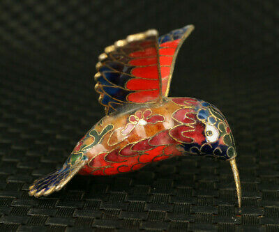 chinese rare old cloisonne hand carved hummingbird statue netsuke pendant gift