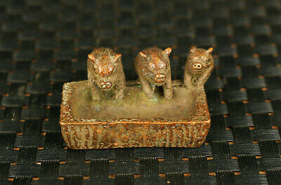 old bronze hand carved three pigs eat statue figure collectable gift